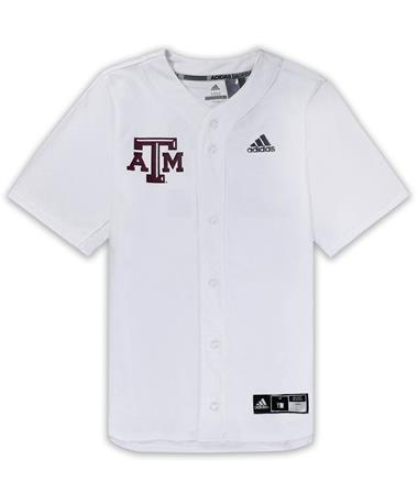 Texas A&M Adidas Diamond King Elite Full Button Youth Baseball Jersey - White - Front White