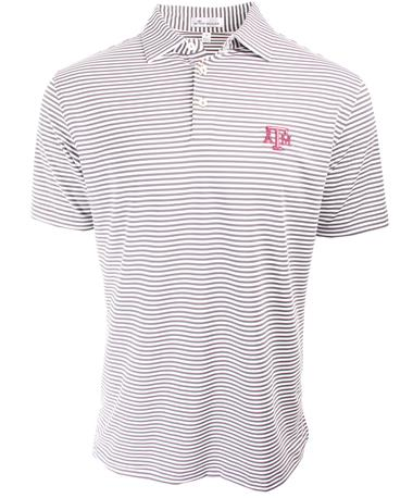 Texas A&M Peter Millar Competition Striped Polo - Collegiate Grey - Front Collegiate Grey