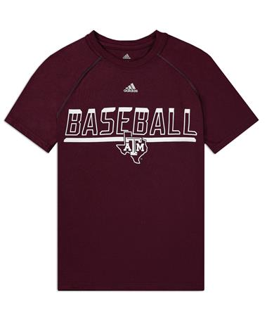 Texas A&M Adidas Youth Safe At Home Baseball Tee - Front Maroon