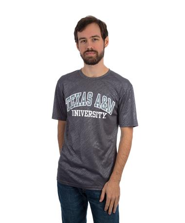 Badger Texas A&M Line Embossed Basic Tee - Josh - Front GRLE