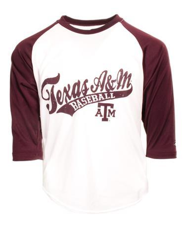 Badger Texas A&M Youth Raglan Baseball Tee - Front Maroon