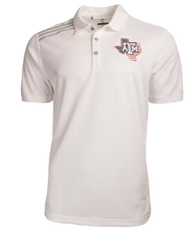 Adidas Golf Texas A&M Lone Star Flag Emblem Polo - Front White