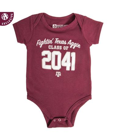 Texas A&M Aggie Class Of 2041 Onesie A H INFANT MAROON