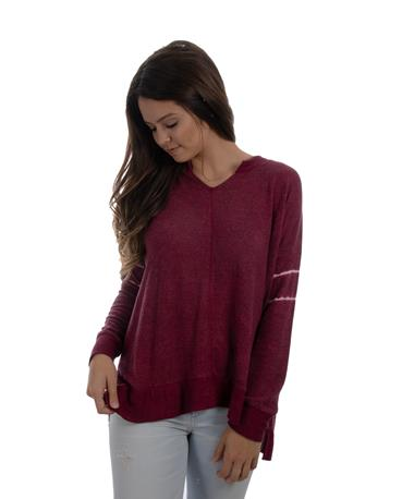 Stripe Sleeve Brushed Hacci Cut Neck Top - Front Burgundy
