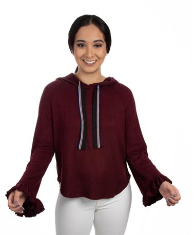 Brushed Hacci Ruffle Hoodie-front Wine/Multi