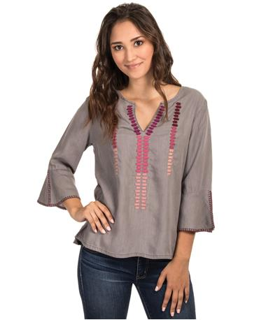 Embroidered Grey Tencel Blouse - Front Grey Tencel
