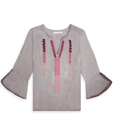 Embroidered Grey Tencel Blouse-Front Grey Tencel