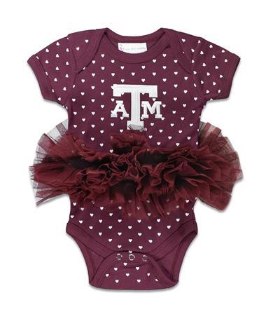 Texas A&M Heart Tutu Onesie - Front Maroon Polka Dot