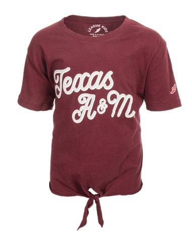League Texas A&M Girls Tie Front Tee - Front Maroon