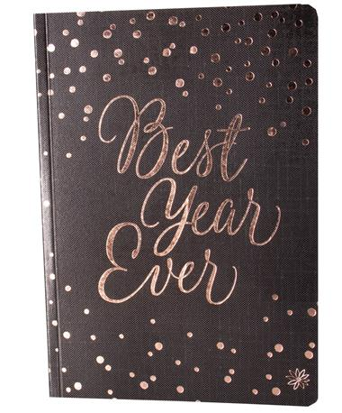 Bloom Composition Notebook-front Black and Gold Polka Dot