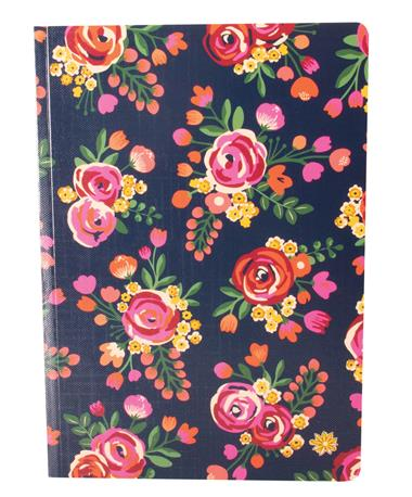 Bloom Composition Notebook-front Navy Floral