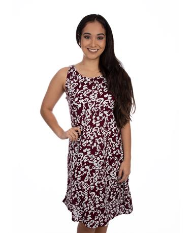 Maroon and White Escapada Danielle Dress - Maroon/White - Model - Front Maroon/White