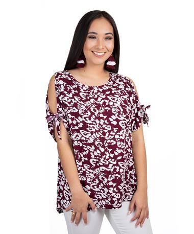Escapada Alyssa Top-front Maroon/White
