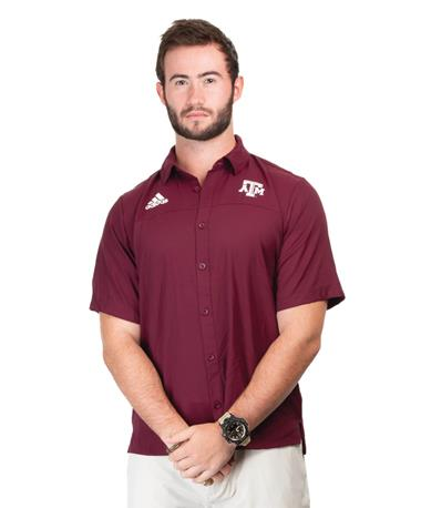 Adidas Texas A&M Full Button Down Polo - Maroon - Model - Front Maroon