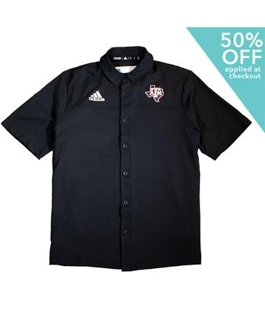 Texas A&M Adidas Lone Star Full Button Down Polo Black