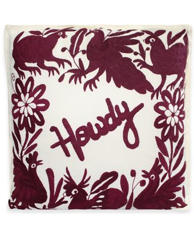Nativa Howdy Pillow Natural/Maroon