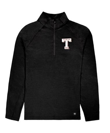 Texas A&M `47 Brand Vault T Men`s Sweep Quarter Zip - Black - Front Jet Black