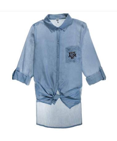 Texas A&M Breakaway Ladies Button Down - Front Blue