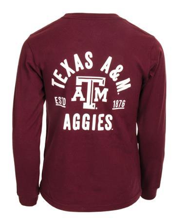 League Texas A&M Kids Long Sleeve Pocket Tee - Back Maroon