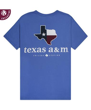 Texas A&M College Station Prep T-Shirt - Mystic Blue - Back Mystic Blue