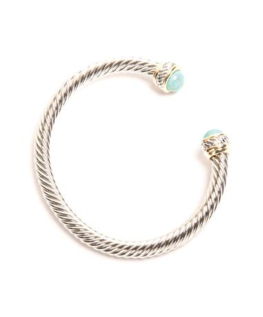 Turquoise Two-Tone Cable Cuff Turquoise Tips