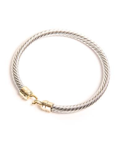 Silver Cable Gold Hook Bracelet