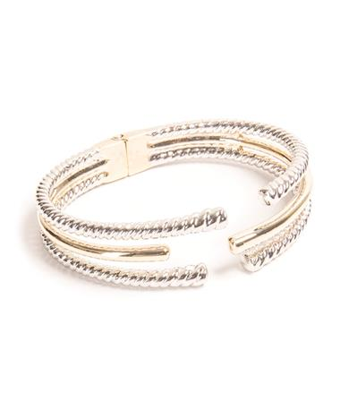 3 Row Two-Tone Cable Bracelet Silver