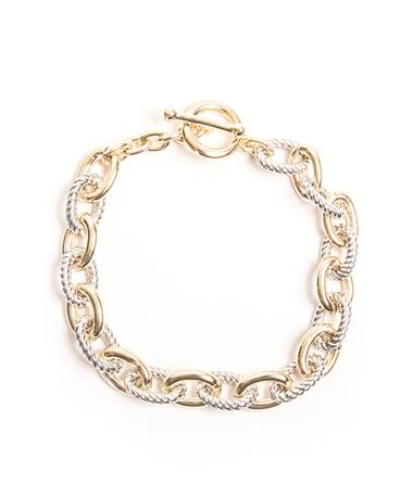 Small Link Two-Tone Cable Bracelet Gold