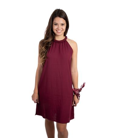 SL Pasha Dress-front Maroon
