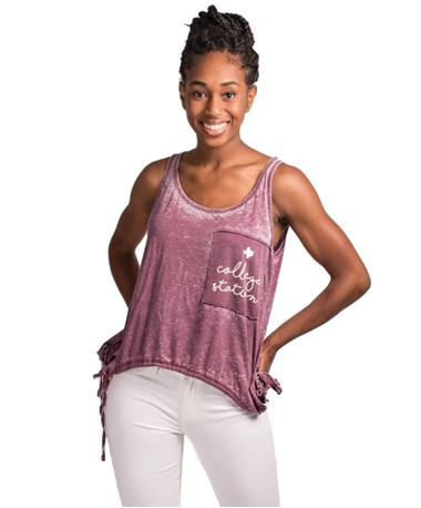 Exclusive College Station TX Tank-front Burgundy