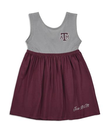 0796f70a0 Texas A&M Colosseum Berlin Toddler Girls Dress - Front Maroon/Grey