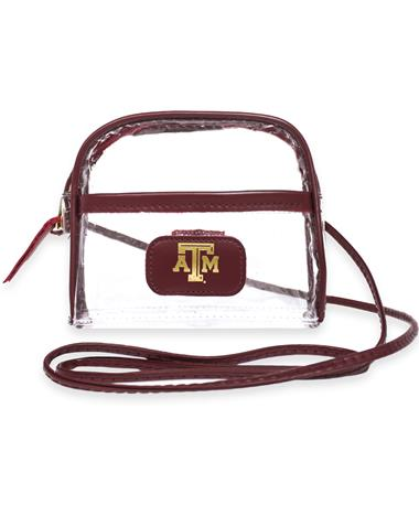 Texas A&M Jon Hart Leather Clear Becky Crossbody - front Wine
