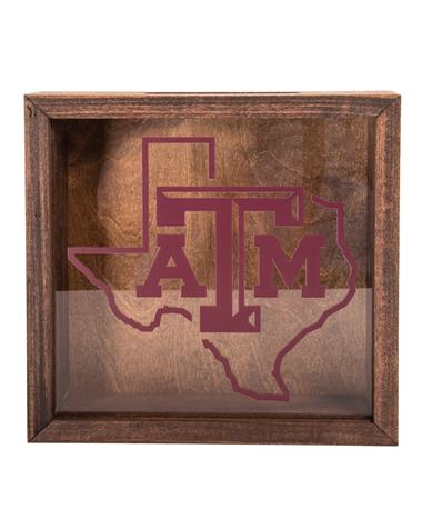 Texas AM Bottle Cap Shadow Box-front Wood/Acrylic
