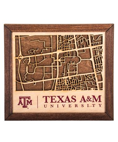 Texas A&M Collegiate Campus Map Wood