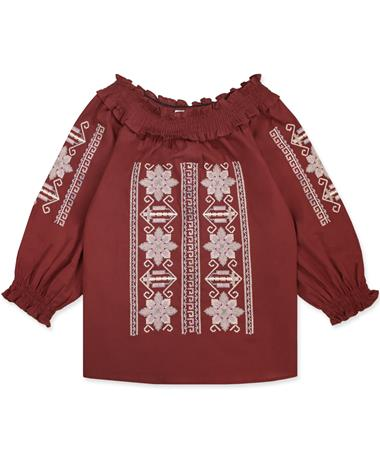 Maroon Joy Joy Cross Stitched Top - Front Maroon