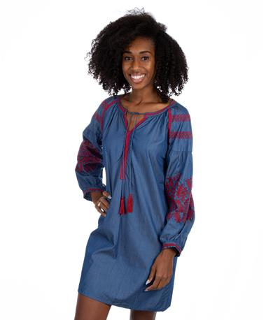 Joy Joy Denim Dress Deep Maroon