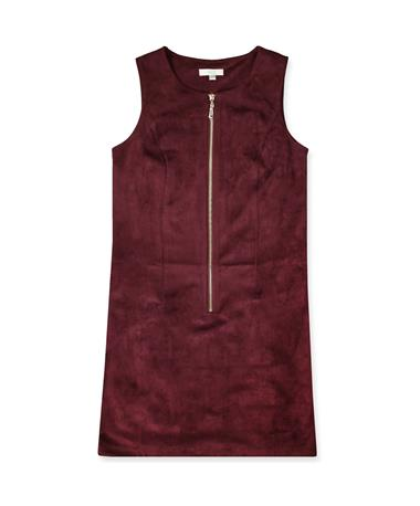 Maroon Joy Joy Suede Dress-Front Maroon