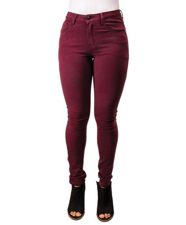 Mystree Wine Stretch Skinny Jeans - Front WINE