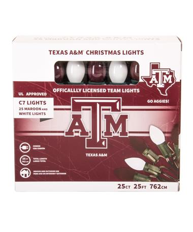 Texas A&M Maroon & White Christmas Lights - Packaging Maroon/White