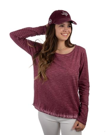 Glitter Stripe Long Sleeve Top - Front Bordo