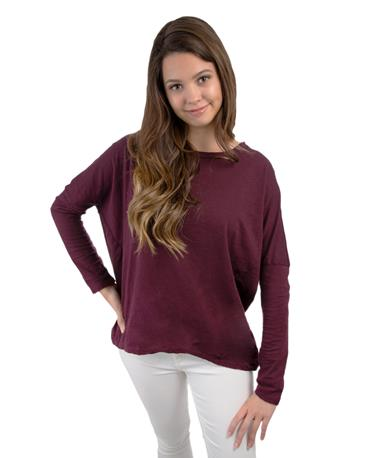 Maroon Hi-Lo Long Sleeve-front Bordo
