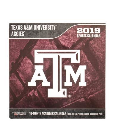 Texas A&M Aggies 2019 Team Wall Calendar - Front Maroon