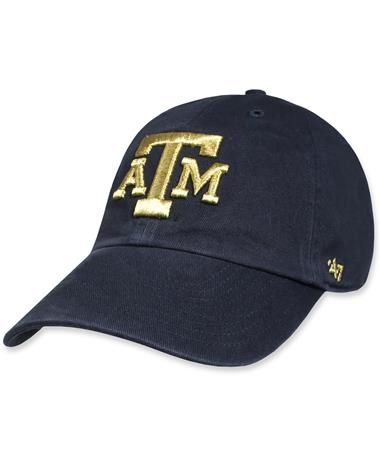 Texas A&M `47 Brand Metallic Clean Up Cap - Navy - Front Navy