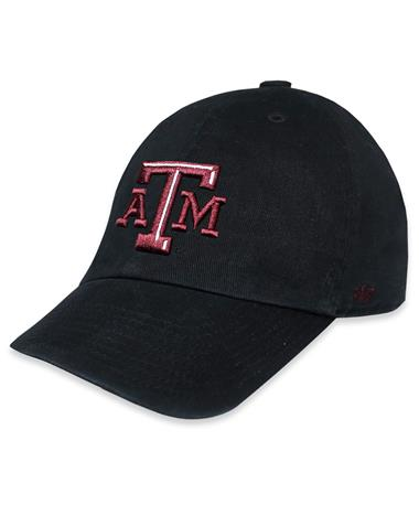 Texas A&M `47 Brand Beveled Clean Up Cap - Black - Front Black