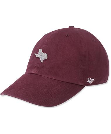 State of Texas `47 Brand Clean Up Cap - Maroon - Front Maroon