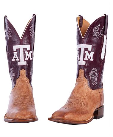 Lucchese Texas A&M Men`s Maroon Boot - Pair Brown