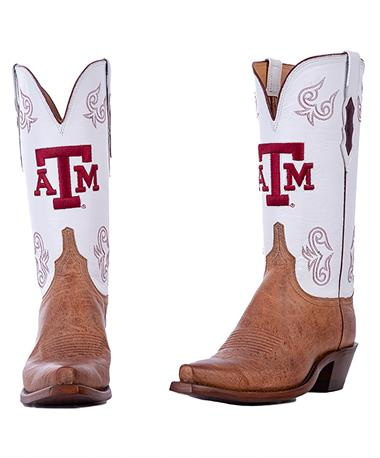 Lucchese Texas A&M Women`s White Top Boot - Pair Brown