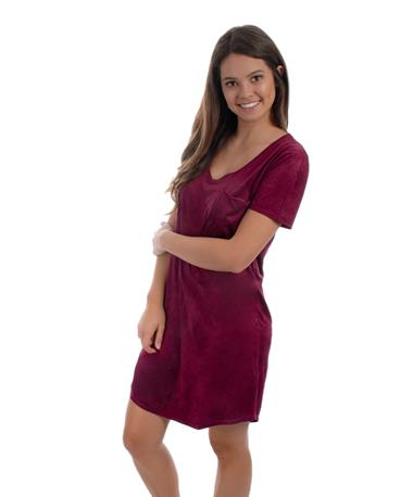 Maroon Cassidy Suede Tee Shirt Dress - Angled Burgundy