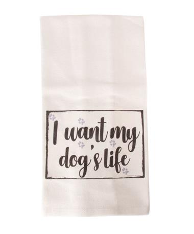 Jazzy Artz Dogs Life Tea Towel Natural