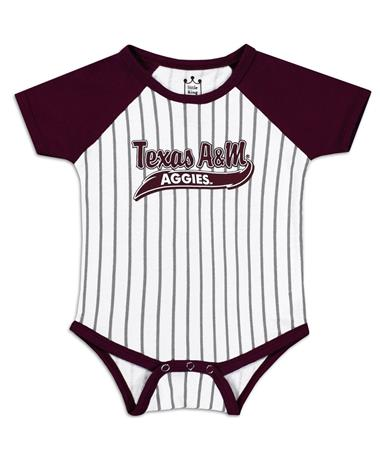 Texas A&M Aggies Infant Baseball Stripe Onesie - Front Maroon/White